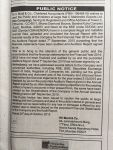 Public Notice by Auditors